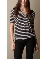 Burberry Striped Linen V-neck T-shirt - Lyst