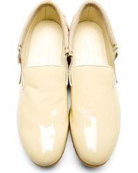 Facetasm - Beige Patent Leather and Suede Fringed Country Shoes - Lyst