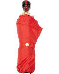 Alexander McQueen Red Painted Skull Umbrella - Lyst