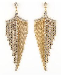 A.V. Max - Golden Rhinestone Chandelier Earrings - Lyst
