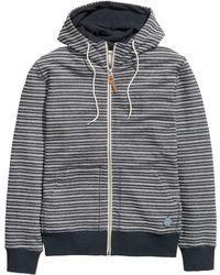 H&M Striped Hooded Jacket blue - Lyst