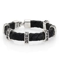 King Baby Studio Braided Leather  Sterling Silver Bracelet - Lyst