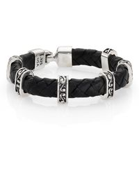 King Baby Studio Braided Leather & Sterling Silver Bracelet - Lyst