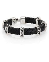 King Baby Studio Braided Leather & Sterling Silver Bracelet black - Lyst