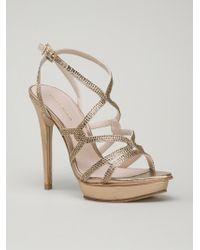 Pelle Moda Gold Farah Sandals - Lyst