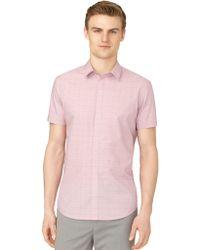 Calvin Klein Slim Fit Poplin Check Sport Shirt - Lyst