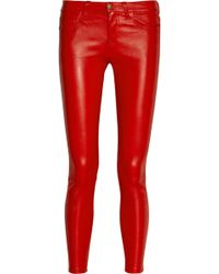Current/Elliott The Stiletto Midrise Leather Leggingsstyle Pants - Lyst