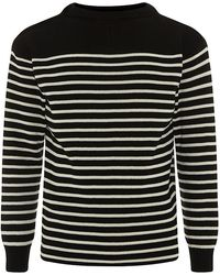 Saint Laurent Breton Stripe Sweater black - Lyst