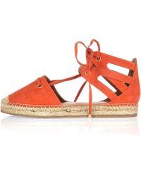 River Island | Orange Tie-up Espadrille Sandals | Lyst