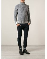 Moncler Aran Knit Sweater - Lyst
