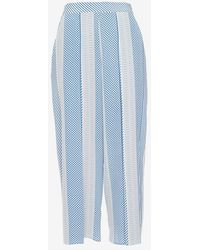 Veronica Beard Scarf Print Silk Pant blue - Lyst