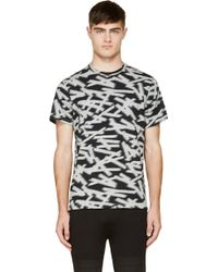 Paul Smith Grey and Navy Intarsia Stripe T_shirt - Lyst