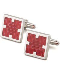 Lanvin Squared Red Enamel Cufflinks - Lyst