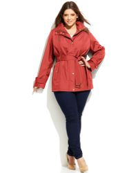 Michael Kors Michael Plus Size Hooded Belted Jacket - Lyst