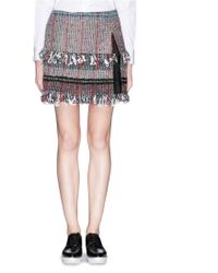 Thakoon Bouclé Tweed Lace Insert Mini Skirt