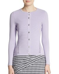 Versace Ribbed Pointelle Knit Cardigan - Lyst