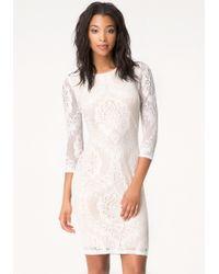 Bebe Lace Midi Dress - Lyst