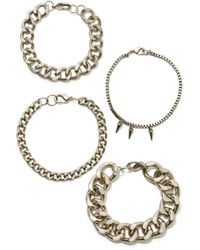 Nasty Gal Link Up Bracelet Set - Lyst