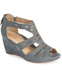 Earthies® 'Morolo' Studded Nubuck Leather Wedge Sandal blue - Lyst
