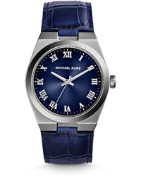 Michael Kors Midsize Blue Leather Channing Threehand Watch - Lyst