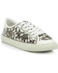 Tory Burch | Rhea Embroidered Lace-up Sneakers | Lyst