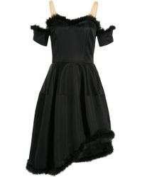Simone Rocha Satin Dress With Marabou Feathers - Lyst