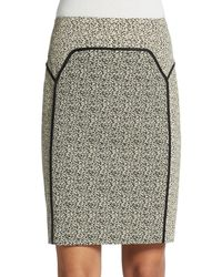 Halston Heritage Khaki Jacquard Pencil Skirt - Lyst