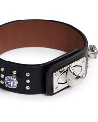 Givenchy Shark Tooth Strass Stud Leather Bracelet - Lyst