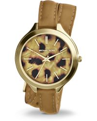 Michael Kors Slim Runway Goldtone Stainless Steel & Leather Cheetah Spot Double-Wrap Watch - Lyst