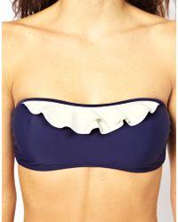 Asos Contrast Frill Bandeau Bikini Top - Lyst