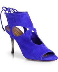Aquazzura Suede Cutout Sandal Heels - Lyst