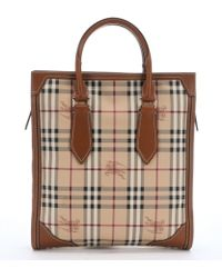 Burberry Tan Coated Canvas Medium 'Haymarket Classic Honeywood' Tote - Lyst