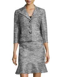 Kay Unger - Metallic Jacquard 3/4-sleeve Skirt Suit - Lyst