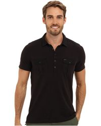 Calvin Klein Jeans Piece Dye Mixed Media Polo - Lyst