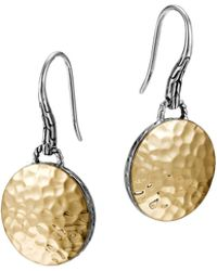 John Hardy Palu Gold-platesilver Round Drop Earrings - Lyst