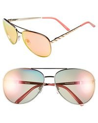 Kensie | 'paris' 64mm Aviator Sunglasses - Shiny Rose Gold | Lyst
