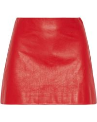 Miu Miu Leather Mini Skirt - Lyst