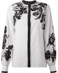 Roberto Cavalli Floral Embroidered Shirt - Lyst