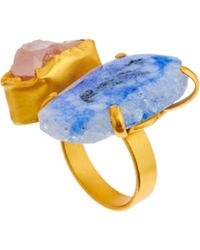 Kasturjewels Adjustable Brass Plated 22kt Gold Statement Ring with Semiprecious Stones - Blue