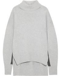 Jil Sander Leathertrimmed Cashmere Turtleneck Sweater - Lyst