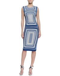 Hervé Léger Adrianne Geometric Design Bandage Dress - Lyst