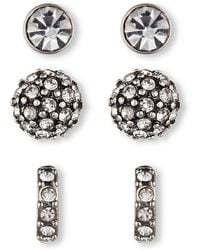 Lonna & Lilly - Silvertone Mixed Stud Earring Set 3 Pairs - Lyst