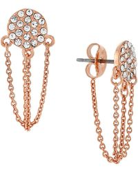 Vince Camuto - Bare And Chain Rose Goldplated Crystal Disc Chain Earrings - Lyst