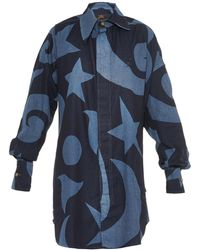Vivienne Westwood Anglomania Lottie Printed Denim Shirt Dress - Lyst