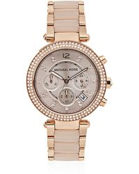 Michael Kors Parker 33mm Chronograph Glitz Watch - Lyst
