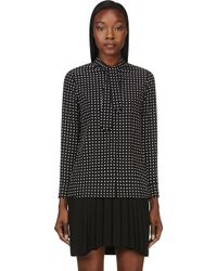 Saint Laurent Black Crepe De Chine Polka Dot Tie Blouse - Lyst