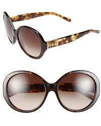 Tory Burch 56Mm Round Sunglasses - Dark Tortoise - Lyst