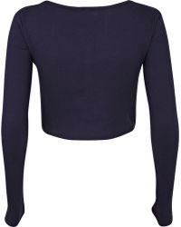 River Island Navy Blue Rib Long Sleeve Crop Top - Lyst