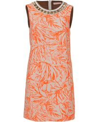 Matthew Williamson Cotton Blend Embellished Collar Print Dress - Lyst