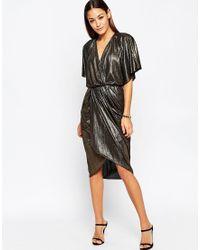 ASOS | Metallic Wrap Kimono Midi Dress | Lyst